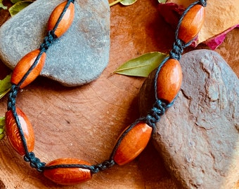 Handmade Hemp Necklace Rune Charm Wood /& Silver Plated Bead Necklace Unique Hemp Jewelry Gift