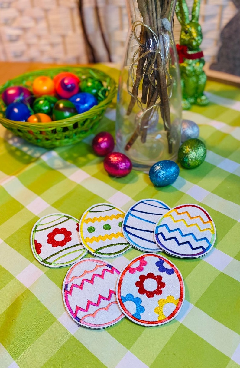 Fake leather embroidered Easter eggs to hang decorative eggs Easter decoration set of 6