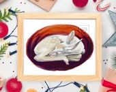 Sleeping White Deer Spotted Fawn - Wildlife Nature Animal - Art Print - 5x7 or 8x10 Print