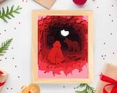 Red Riding Hood Cut Paper Fairytale - Art Print - 5x7 or 8x10 Print