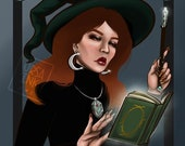 Green Witch Spellcasting digital art print for instant download