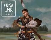Jingle Dress Dancer Ojibwe Chippewa Woman painting  - Art Print - 5x7 or 8x10 Print