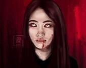 Vampire Girl - Horror Macabre Spooky Gothic - Art Print - 5x7 or 8x10 Print