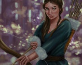 Winter Forest Archer - Instant Download Art- Autumn, Hunter, Hunting, Woodland Aesthetic Painting