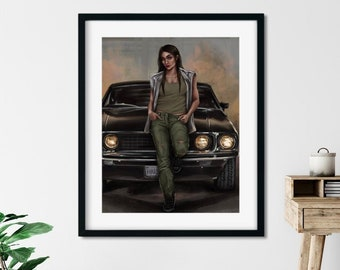 Hot Car, Cool Babe - Art Print - 5x7 or 8x10 Print - muscle car and tough chick