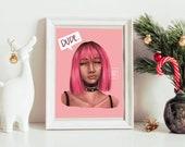 Bubblegum Pink Girl - Art Print - 5x7 or 8x10 Print - Punk, Dyed Hair
