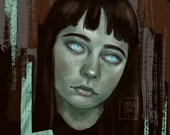 Zombie Monster Girl - Horror Gothic Macabre - Art Print - 5x7 or 8x10 Print
