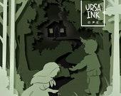 Hansel and Gretel Fairytale Paper Cutout - Instant Digital Download art print
