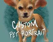 Custom Pet Portrait - Cat Dog Bird Animal - Art Print - 5x7 or 8x10 Print