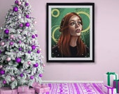 Steampunk Style Redhead - Art Print - 5x7 or 8x10 Print - Gold and Green Ginger Girl Fantasy Portrait