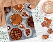 Happy Pie Day - Thanksgiving Holiday Autumn - Art Print - 5x7 or 8x10 Print