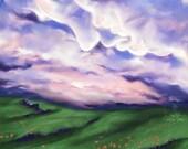 My Ancestors Are Speaking To Me - Art Print - 5x7 or 8x10 Print - Clouds, Meadow, Purple Sky