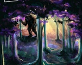Purple Forest Troll - Troll in the Woods Painting - Art Print - 5x7 or 8x10 Print