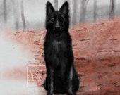 Black Dog Dark Woods is a Vibe - Gothic Horror - Art Print - 5x7 or 8x10 Print