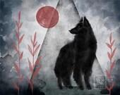 Black Dog in the Woods Red Moon Belgian Shepherd - Art Print - 5x7 or 8x10 Print