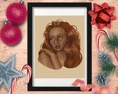 Caramel Girl Portrait Painting - Art Print - 5x7 or 8x10 Print