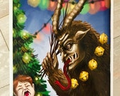Krampus Holiday Holographic Print 8.5x11in Christmas Art