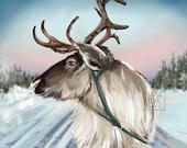 Reindeer Printable Art Sleigh Ride Through Scandinavia - instant download - digital painting art print - Christmas Holiday gift