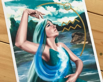 Aquarius Zodiac Muse - Art Print 8x10 inch - with gold metallic ink accents, Uranus, Water Bearer, Zodiac Portrait