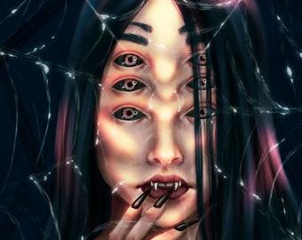 Spider Woman Monster - Art Print - 5x7 or 8x10 Print - Jorogumo, Yokai, Demon