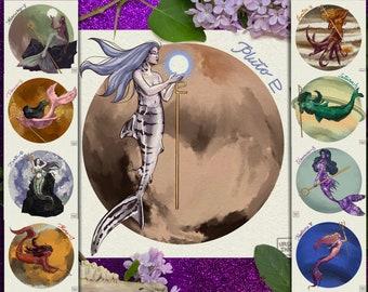 Mermay Mermaid Art Challenge 2021 - Celestial Sirens - mermaids inspired by the planets; octopus, eel, fish, shark, seahorse