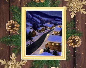 Snowy Winter Alpine Village downloadable digital Christmas holiday art