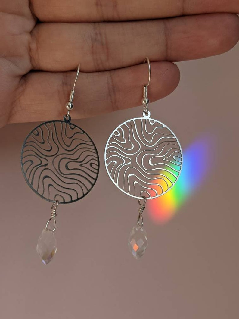 Topographic dangle earrings river earrings iridescent crystal earrings