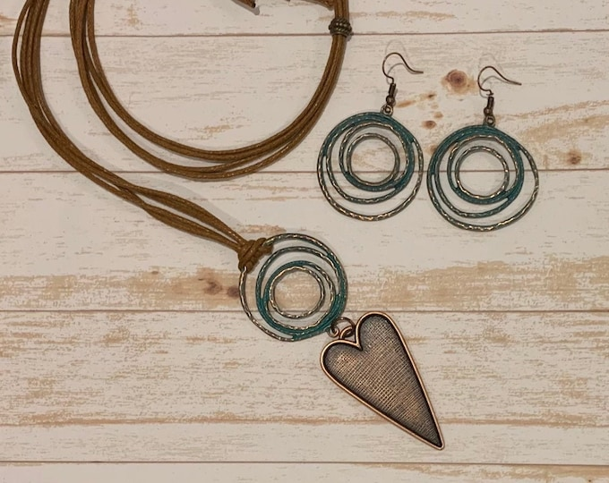 Copper, turquoise heart necklace/pendant set  for women. BOHO, Earrings to match (optional). Two styles. Gift idea.