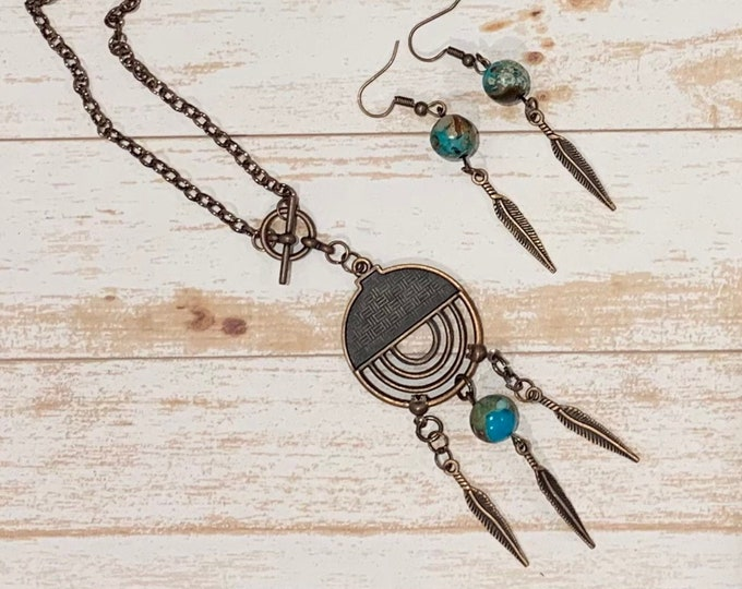 Ethnic Jewelry Set - Jasper Copper Pendant  for women - Leaf design - Earrings to match (optional) - Dream catcher - FREE SHIPPING