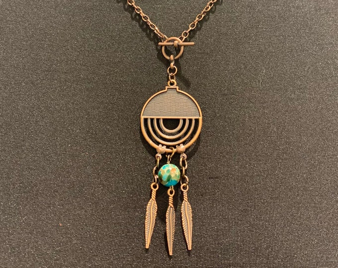 Copper, gypsy, turquoise pendant, necklace jewelry set for women. Earrings to match (optional). Leaf, dream catcher. Vintage.boho. Western.