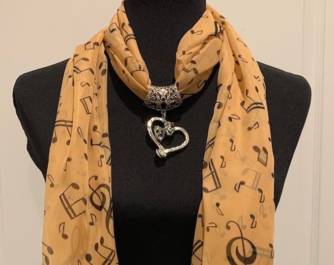 Silky polyester scarf - Scarf pendant for women - Scarf necklace - Scarf slider - Theatre scarf bail - musical note scarf- Scarf charm
