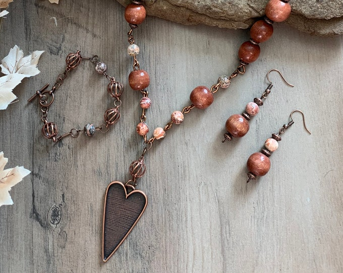 Adjustable length copper necklace - Jewelry set for woman - Copper heart necklace - Statement necklace