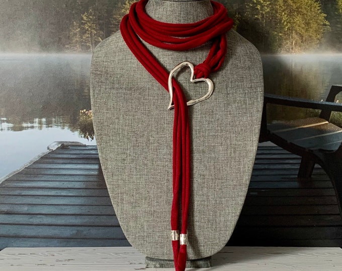 Scarf jewelry- Red Scarf necklace - Multistrand scarf jewelry - Scarf pendant - Silver heart pendant- spring scarf necklace-Mothers Day gift