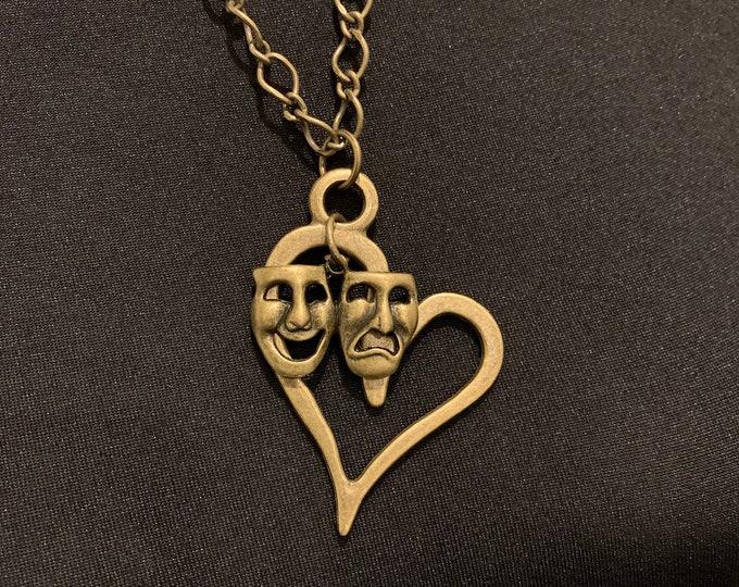 Custom Theatre/Drama gift-Theatre jewelry-Comedy tragedy mask necklace-Broadway custom jewelry