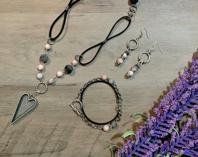 Antique silver heart necklace-BOHO bracelet-BOHO drop earrings-Jewelry set for woman-Jewelry gift for her.