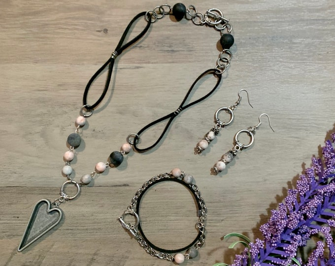 BOHO necklace, bracelet and earrings jewelry set for woman. Gold, Antique Silver, CopperHeart pendant. Gift idea. Two lengths. Vintage Look.