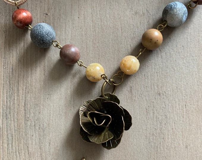 Vintage style flower pendant-adjustable length necklace-antique silver, copper or bronze jewelry set for woman-matching earrings.