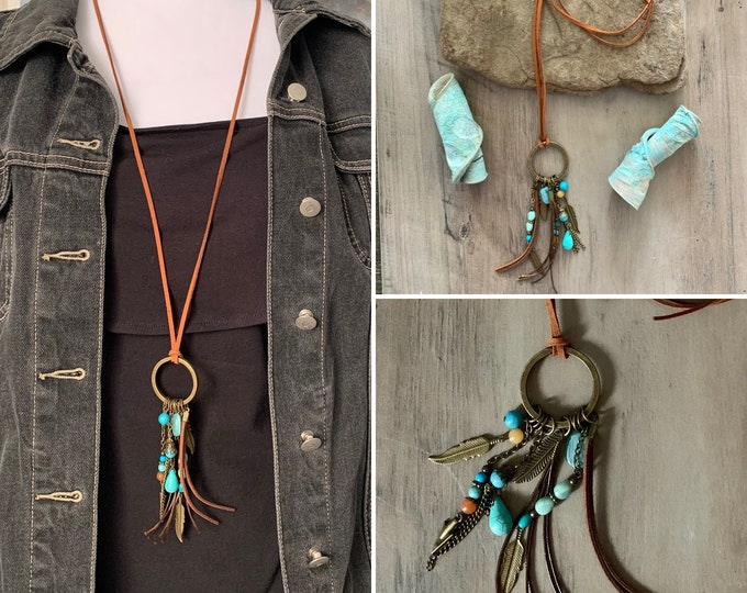 Hippie/western style. BOHO ethnic style adjustable length sweater necklace. Jewelry set. Earrings optional.Circle pendant. Bronze.
