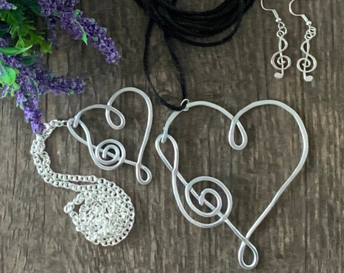 Musical note necklace for women - Music earrings - Gift for music lovers  - Wire wrapped jewelry -Copper wire wrapped