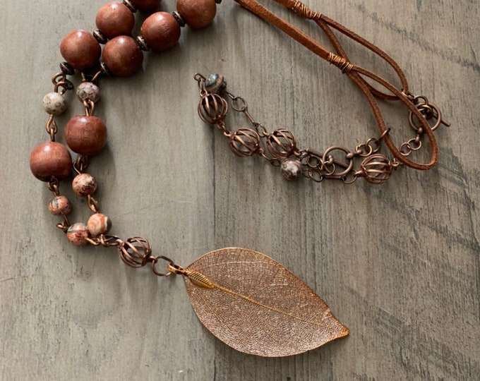 Copper boho leaf pendant-Adjustable length necklace and earrings set-woman's jewelry set-Silver or copper-Beaded necklace.