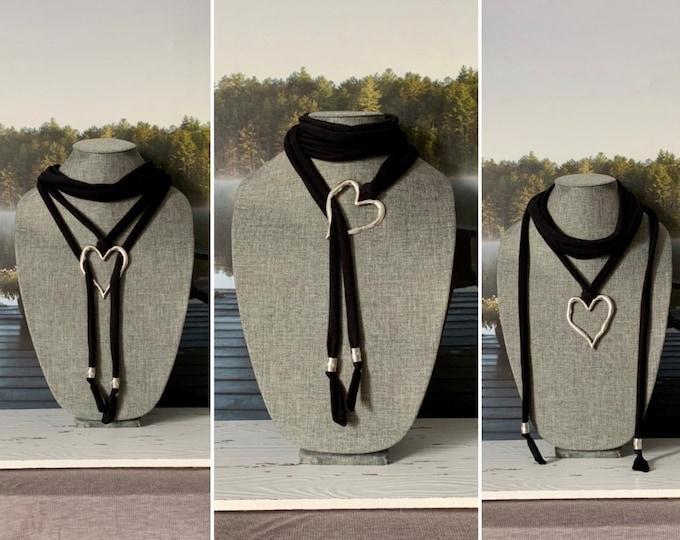Black scarf necklace for women -Multistrand scarf jewelry -Bobo scarf necklace -Black scarf jewelry - Adjustable length scarf - Spring scarf