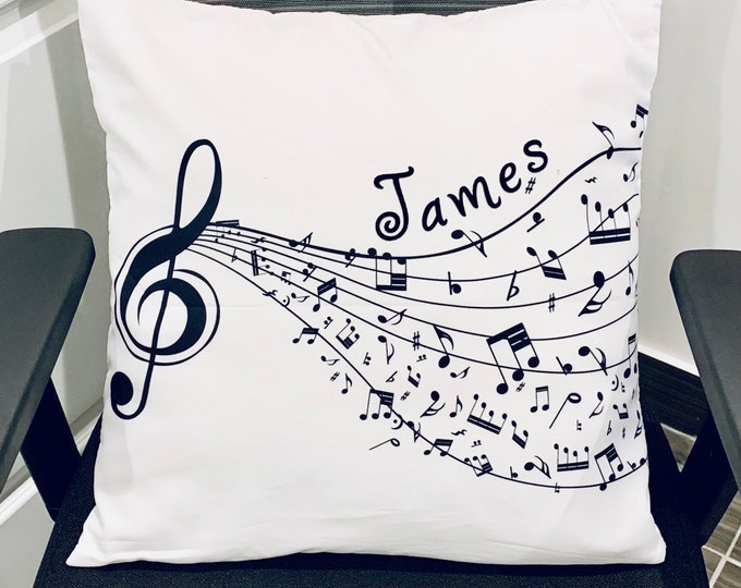 Custom musical cushion cover-Treble clef musical cushion cover-Gift for musical theatre/Broadway fans-Performing arts cushion cover.