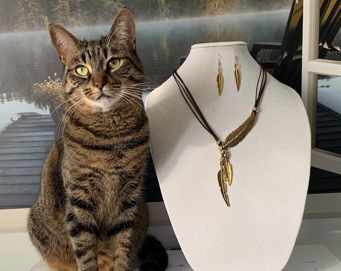 Feather BOHO necklace and earrings.  Women's jewelry set. Statement necklace. Multi-strand necklace. Cat not included! :)