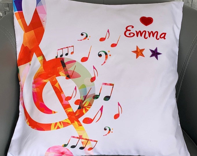 Treble clef musical cushion cover-Custom theatre cushion cover-Broadway cushion cover-Personalised gift for theatre/music fans
