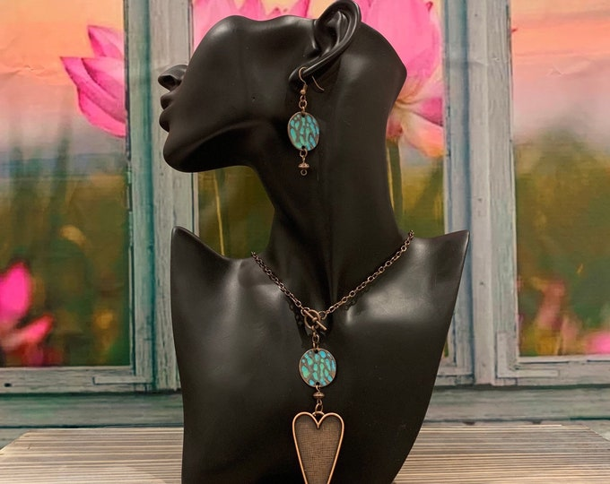 Copper, turquoise necklace/pendant set  for women. Leaf/heart BOHO, Earrings to match (optional).