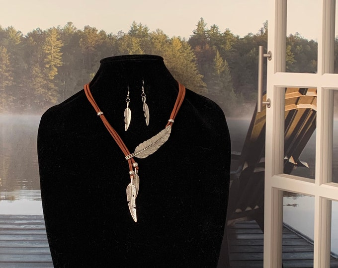 Women's jewelry set. BOHO feather Statement necklace. Multi-strand necklace.