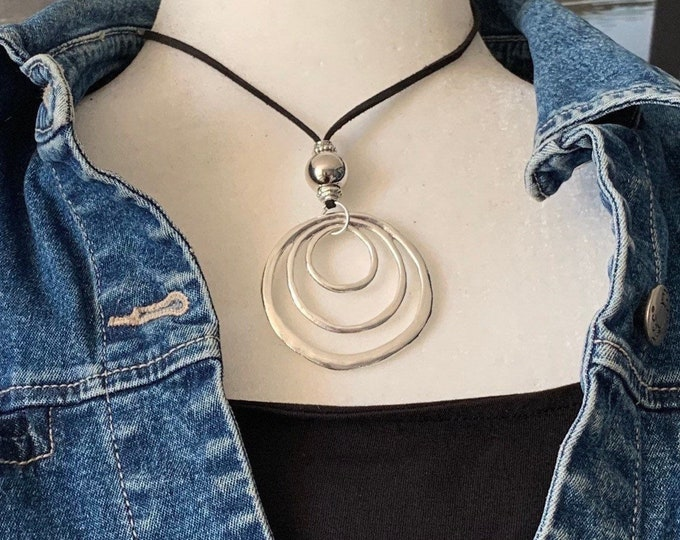 Large silver cirlce pendant - Adjustable length necklace - Statement pendant - Silver heart pendant- Long chain heart necklace -