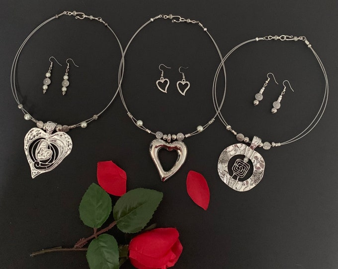 Women's necklace set, Valentines gift, engagement gift. Heart or Circle necklace set for women. Earrings.Silver Multi-strand.