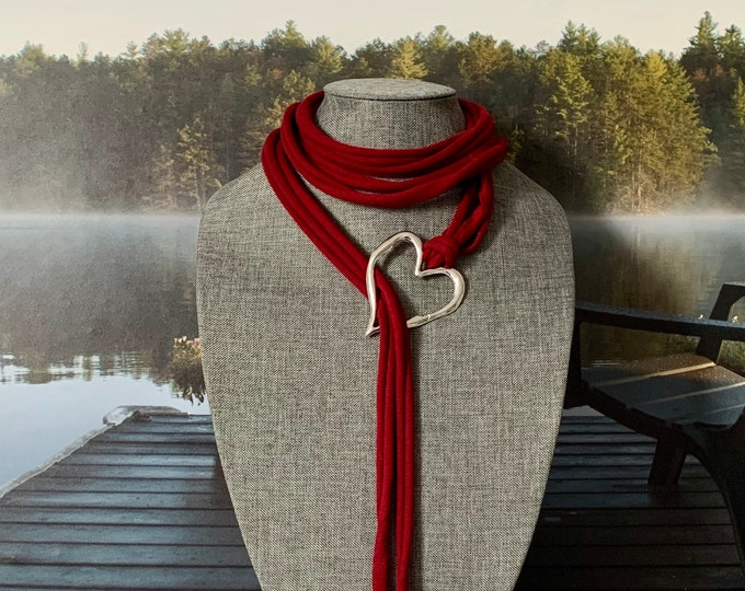 Scarf necklace, Valentines gift, scarf pendant, heart pendant jewelry for women. Scarf accessories, Xmas gift for women, birthday gift.