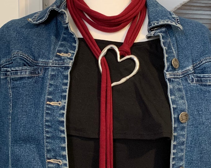 Scarf jewelry-Scarf necklace-Mothers Day gift-Heart scarf pendant-Scarf jewelry for women-Scarf accessories-Red scarf-Black scarf
